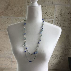 Double Strand Necklace with Blue and Silver Beads